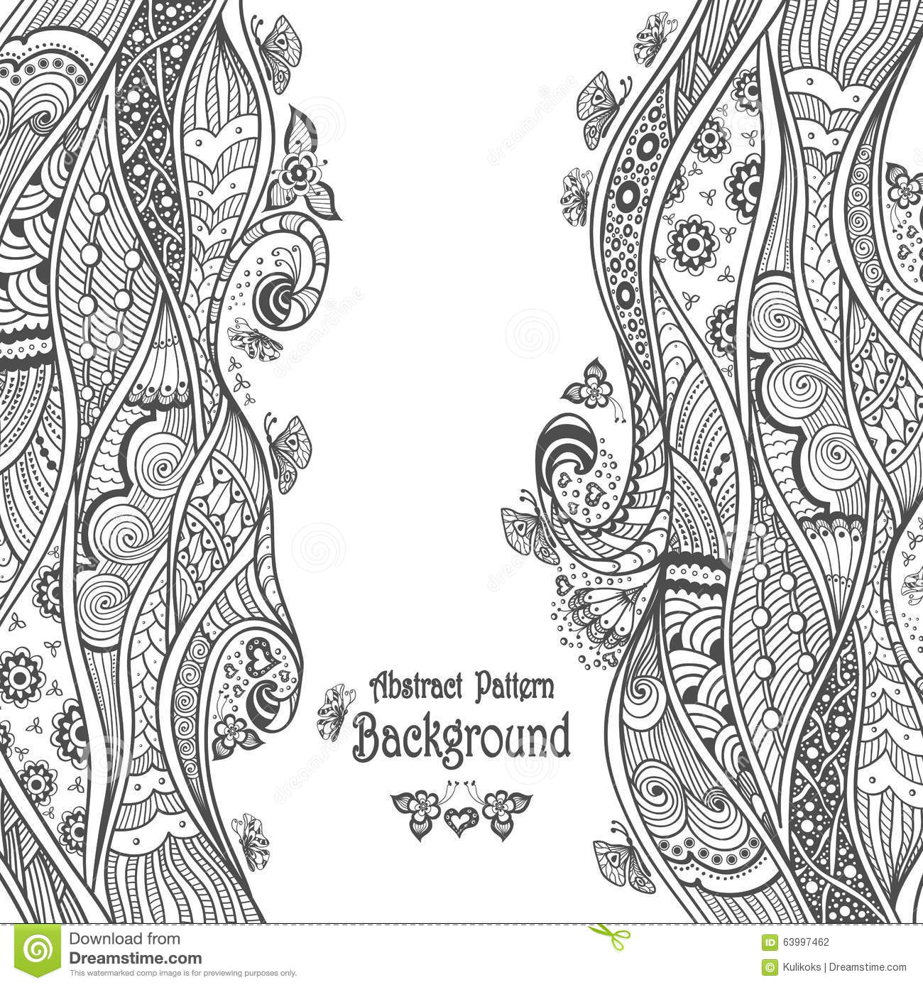 abstract pattern background in zen doodle style black on white