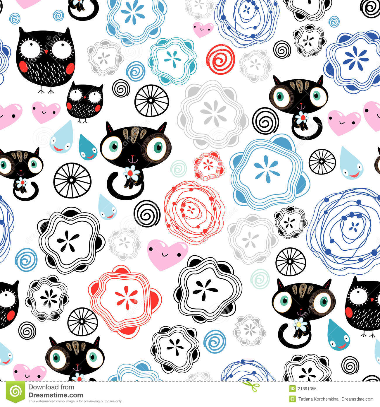 Abstract Art Black And White Patterns Cats