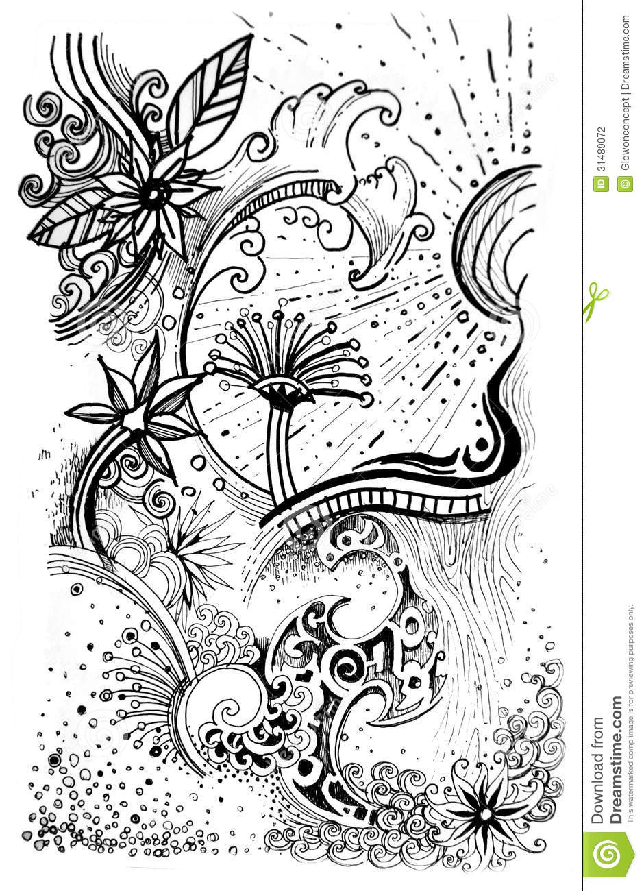 Abstract flower pattern line drawn graphic stock illustration abstract flower pattern line drawn graphic mightylinksfo Images