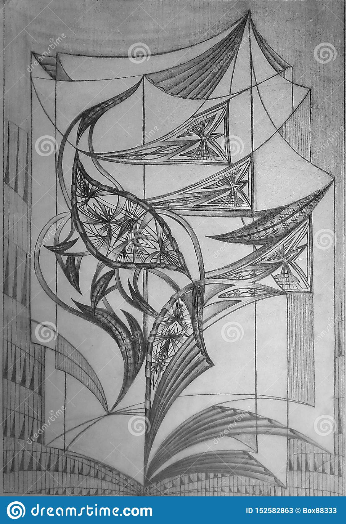 Abstract pattern made on white paper with graphite pencil. Graphic image.