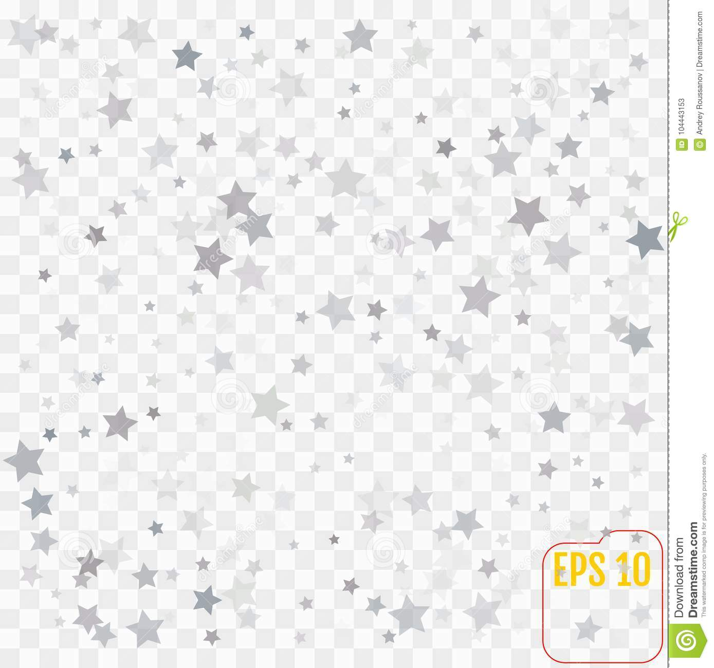 Abstract pattern of random falling silver stars on transparent