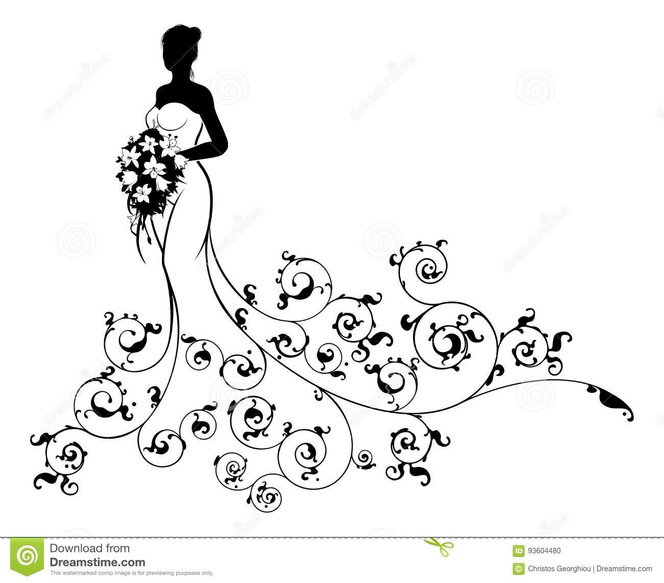 Abstract Pattern Wedding Bride Silhouette Stock Vector