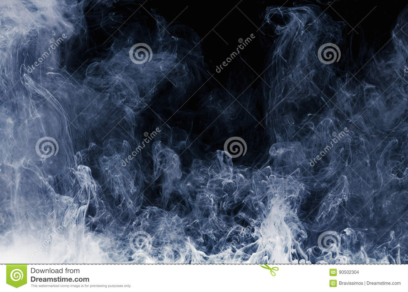 Abstract pattern of white smoke on a black background. Waves of mist and clouds.