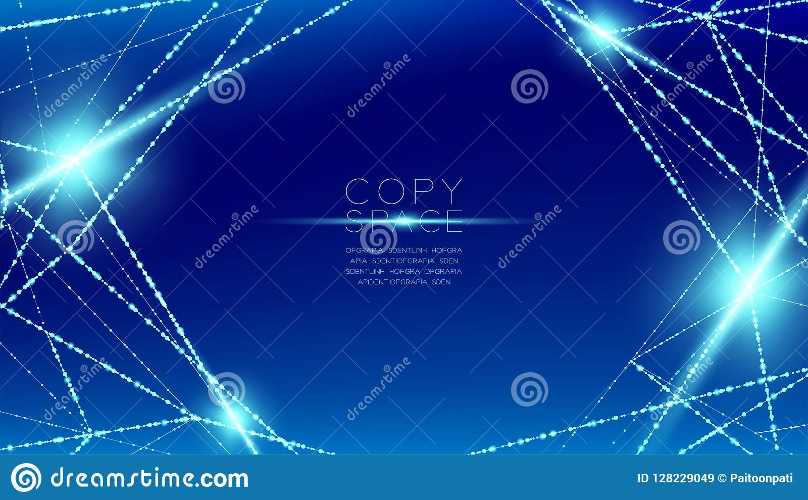 Abstract pattern wireframe polygon bokeh light frame structure and lens flare, Blockchain cryptocurrency concept design illustrati