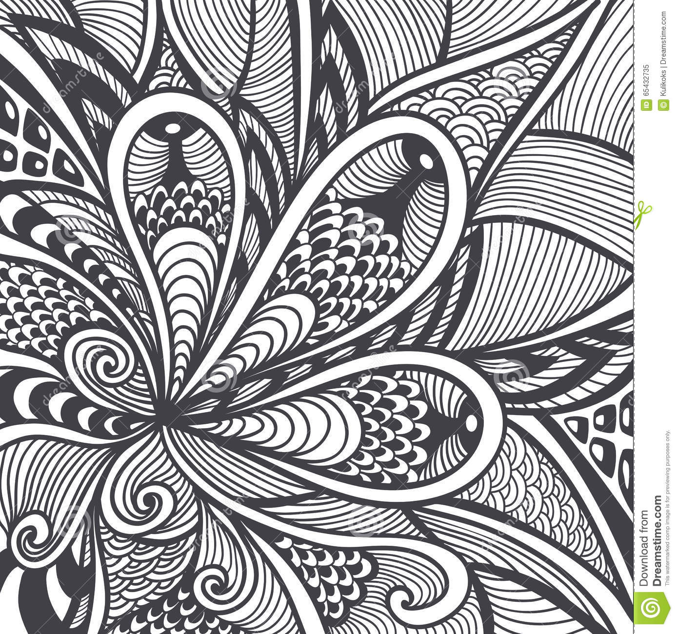 Abstract Pattern In Zen Tangle Doodle Style Black On White
