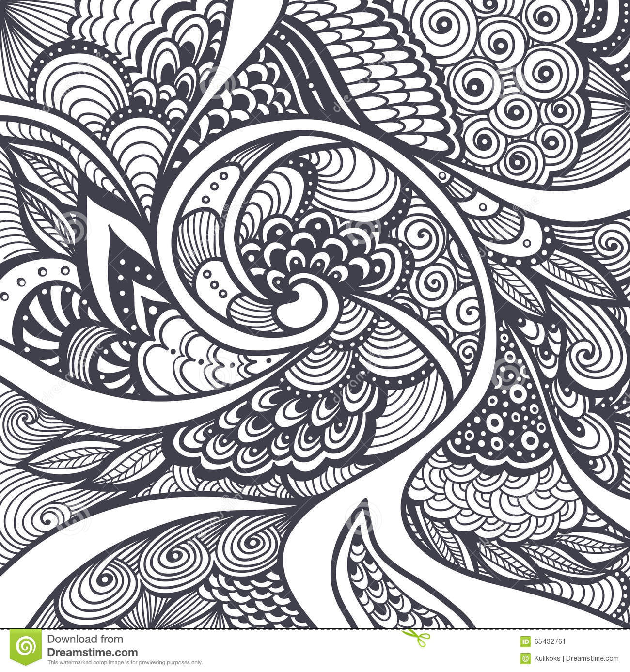 abstract pattern in zen tangle zen doodle style black on white