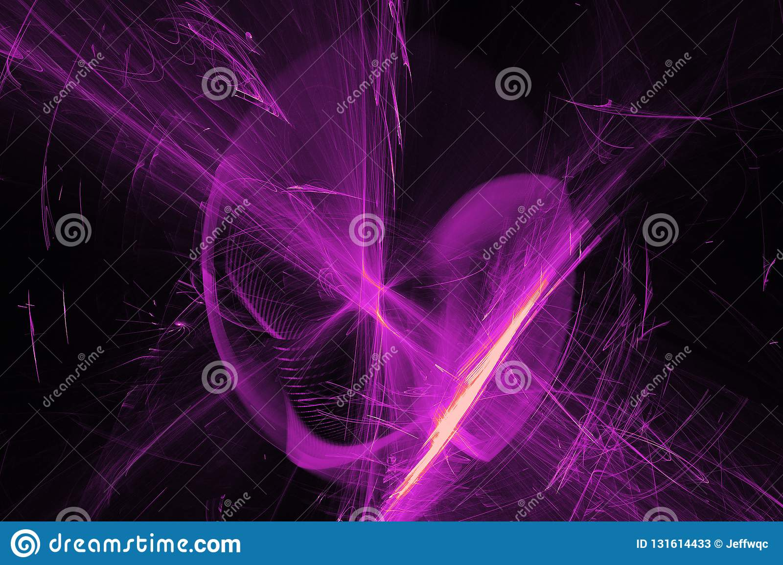 Abstract Patterns On Dark Background With Purple Lines Curves Particles