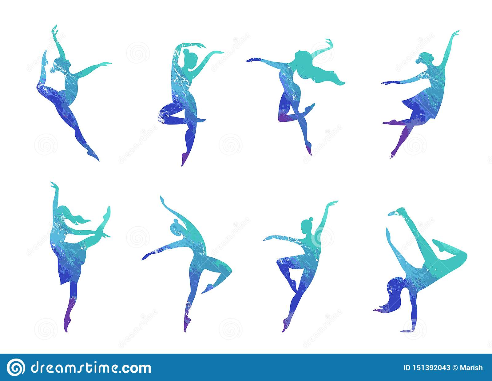 Colorful Dance Silhouette Illustration Stock Vector Illustration Of Graphic Drawn 151392043