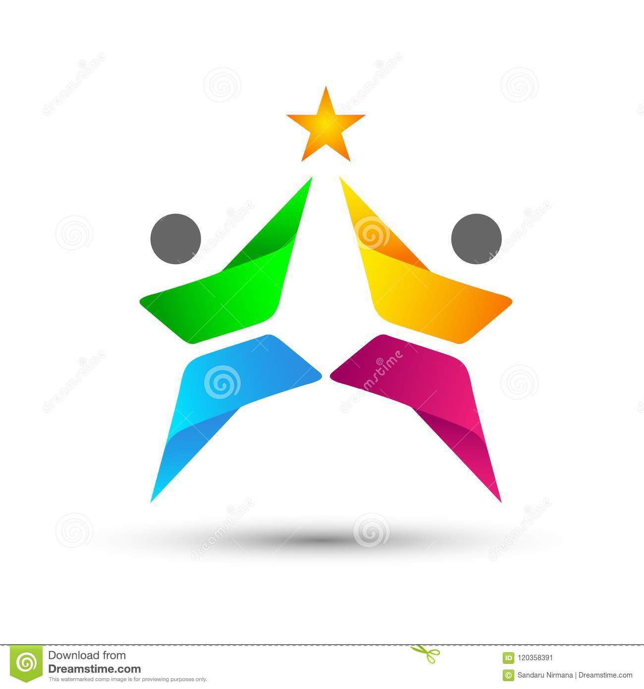 Abstract People Union Celebration Logo on Corporate Invested Business successful logo. Financial Investment Logo concept icon