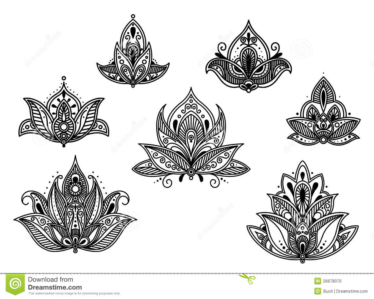 abstract persian and indian flower stock vector illustration of silk flourish 26678070. Black Bedroom Furniture Sets. Home Design Ideas