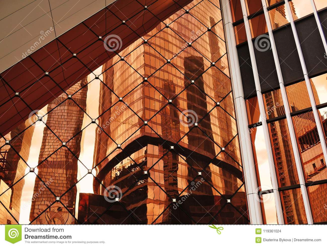 Abstract photo of different geometric shapes, skyscrapers glass window reflection.