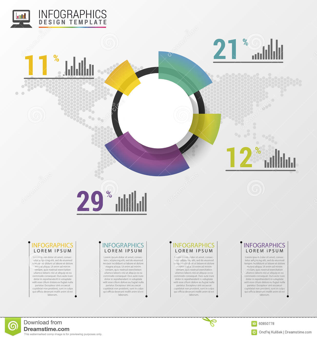 abstract pie chart graphic for business design modern infographic