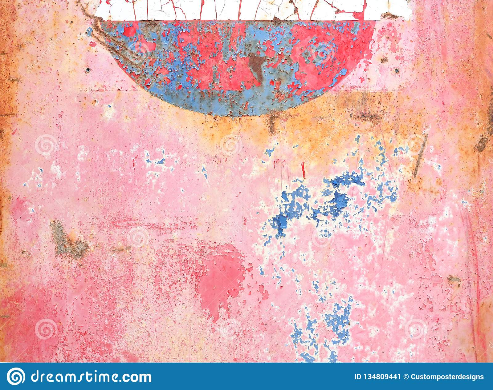 Abstract pink, blue, paint on metal with rust.