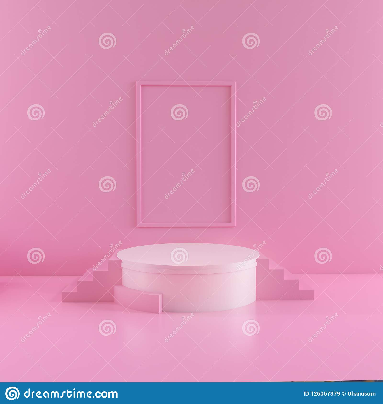 Abstract pink color geometric shape background, modern minimalist mockup for podium display.