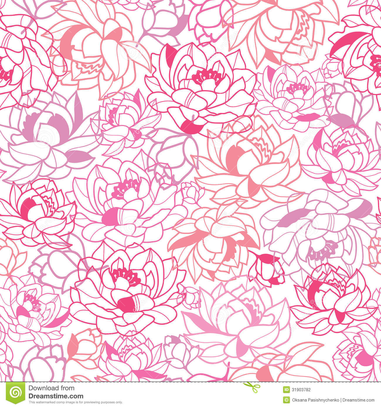 Vector Abstract Pink Flowers Seamless Pattern Background With Modern Floral  Texture.