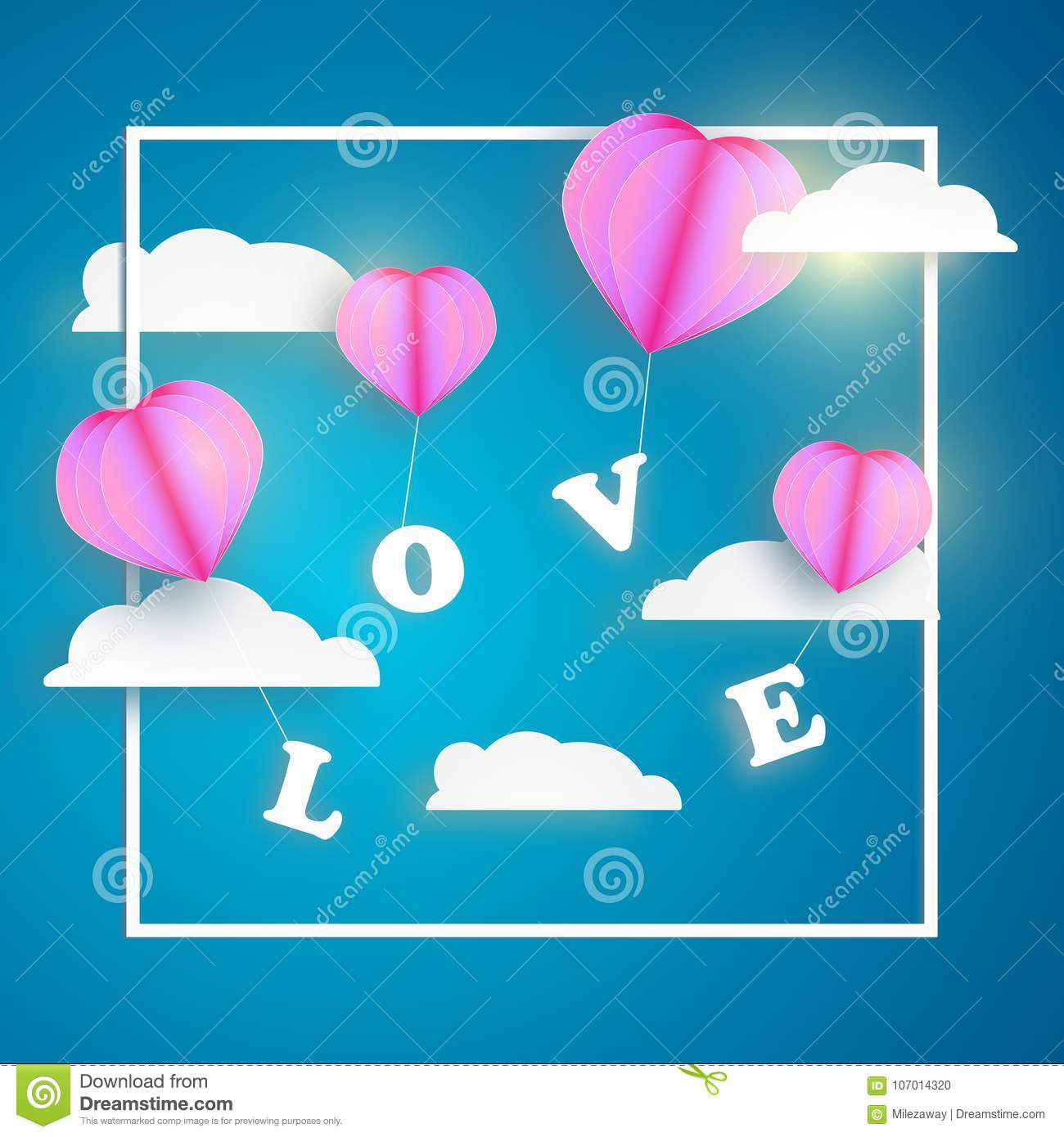 Abstract Pink Heart Balloon Carrying Love Letter In Blue Sky With