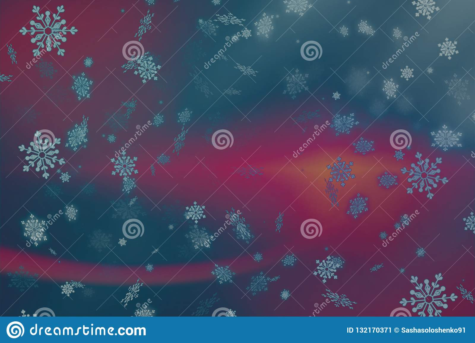 Abstract Pink and purple Christmas background with snow and snowflakes.