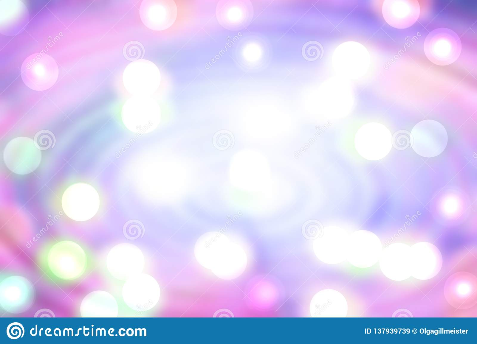 Abstract pink radial background. Colorful magic radial composition with white bokeh circular lights. Beautiful pastel colored