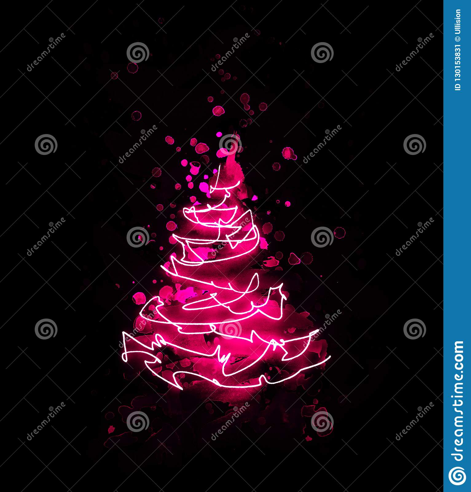 Abstract pink red christmas tree made from watercolor brush stroke and drawing of a string of lights as a luminous line on black