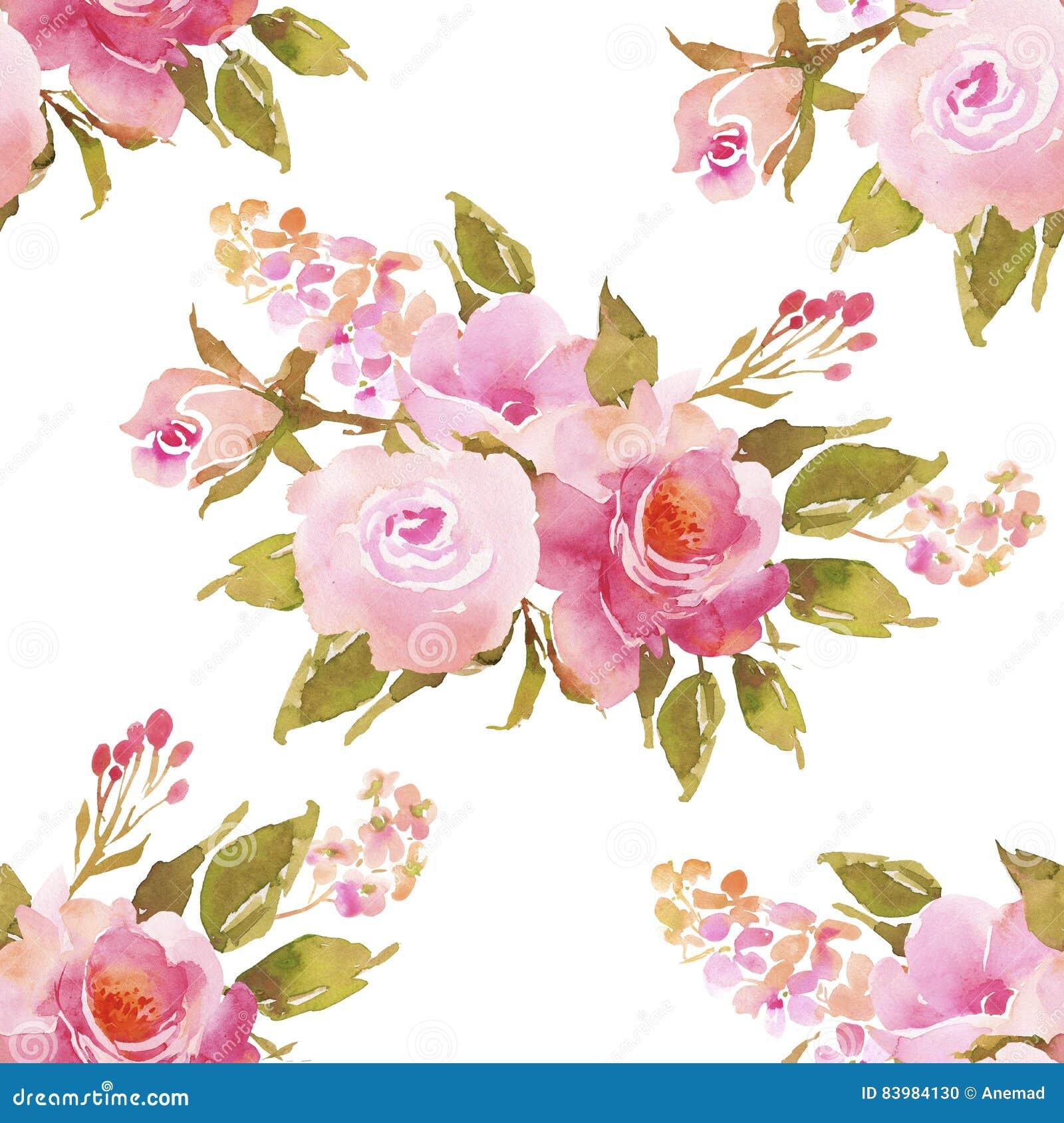 Dark Red Roses Flowers Watercolor Botanical Art Boho: Abstract Pink Roses Flower Watercolor Seamless Pattern