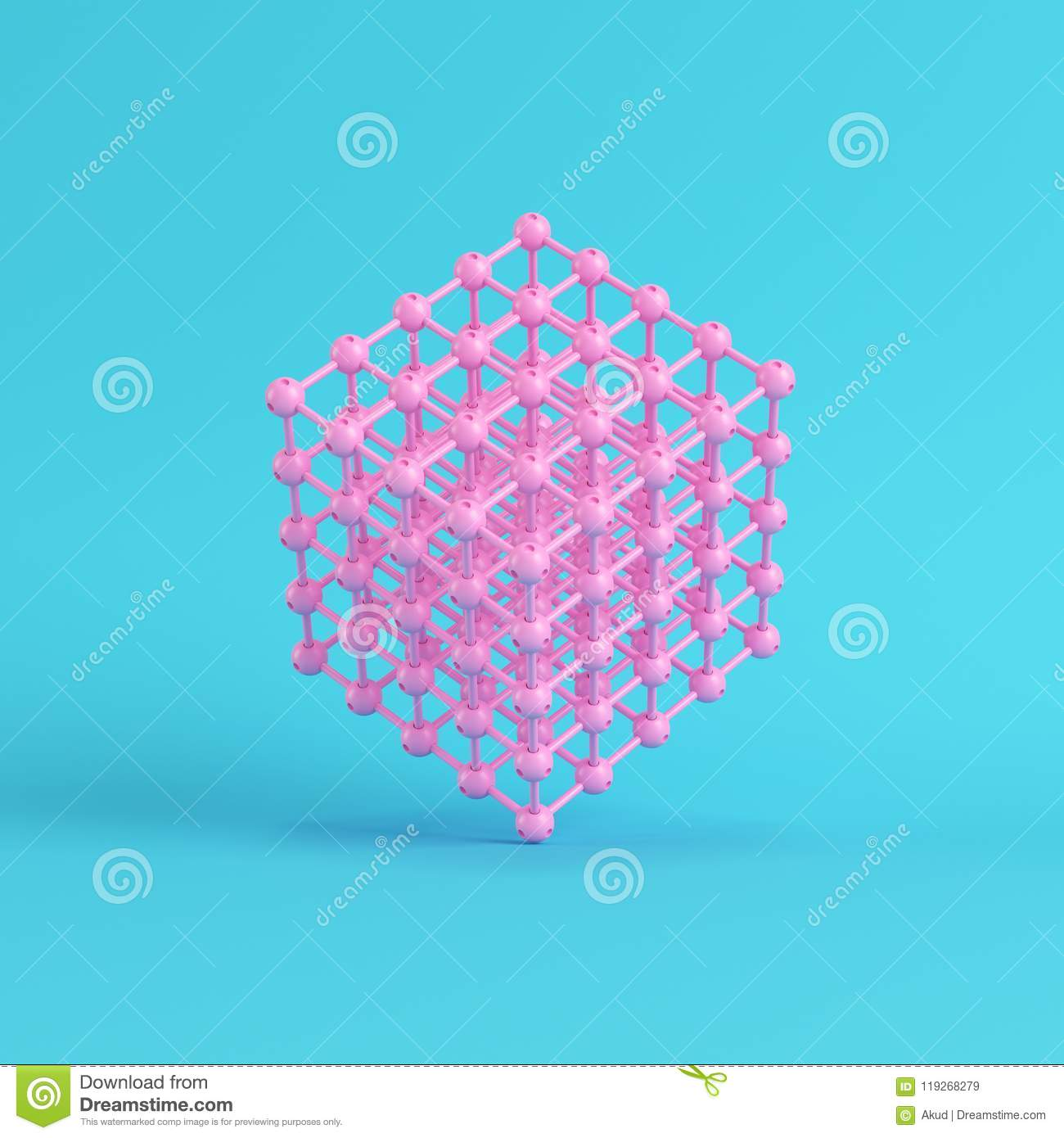 Abstract Pink Spheres In Wire Box On Bright Blue Background In P ...