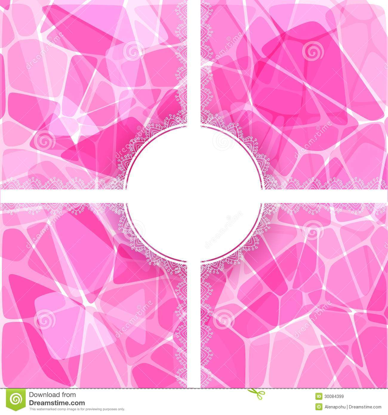 Abstract Pink Vector Card With Lace Label Stock Vector