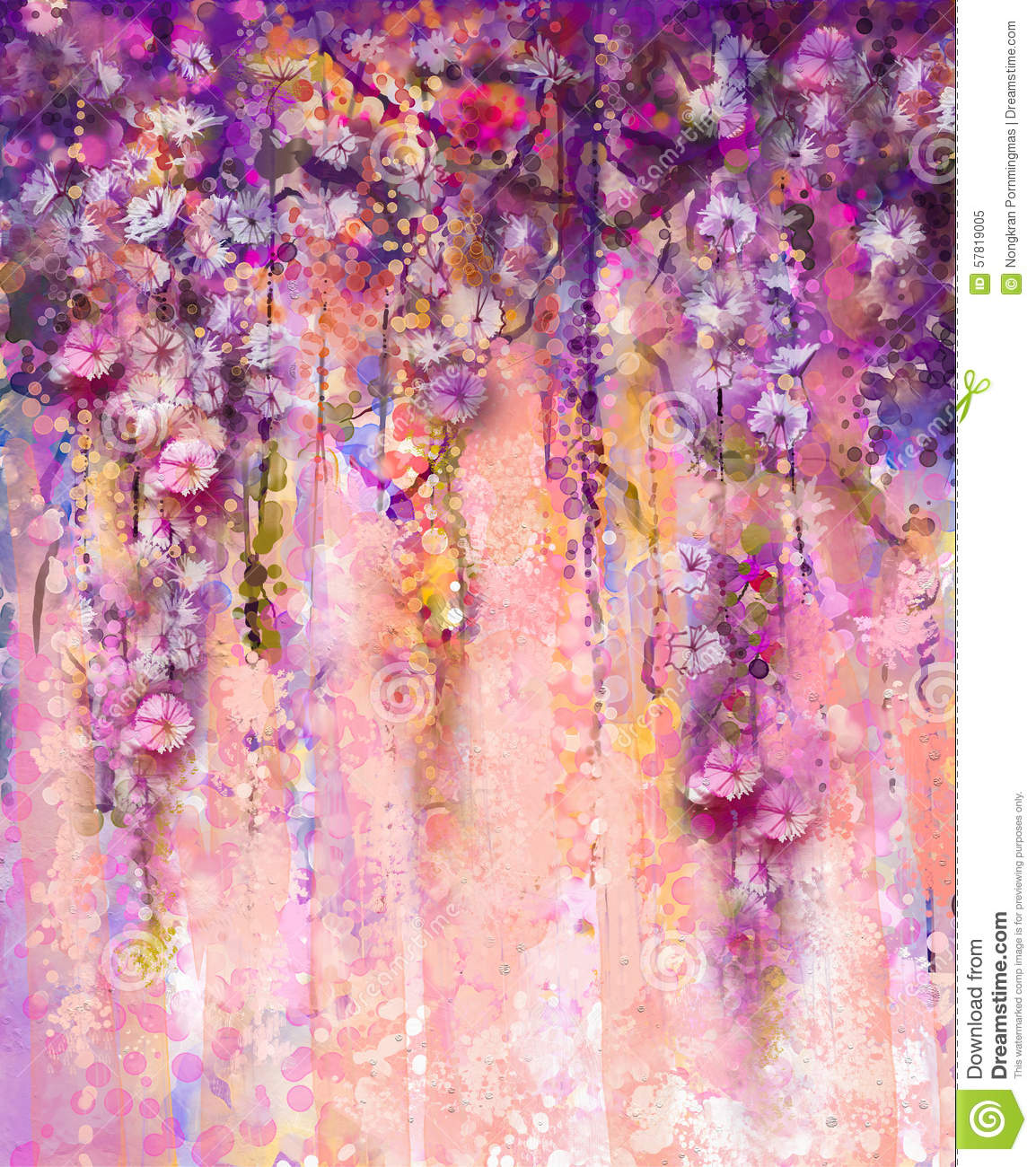 Wisteria Flower Tunnel Abstract Pink And Violet Color Flowers Watercolor