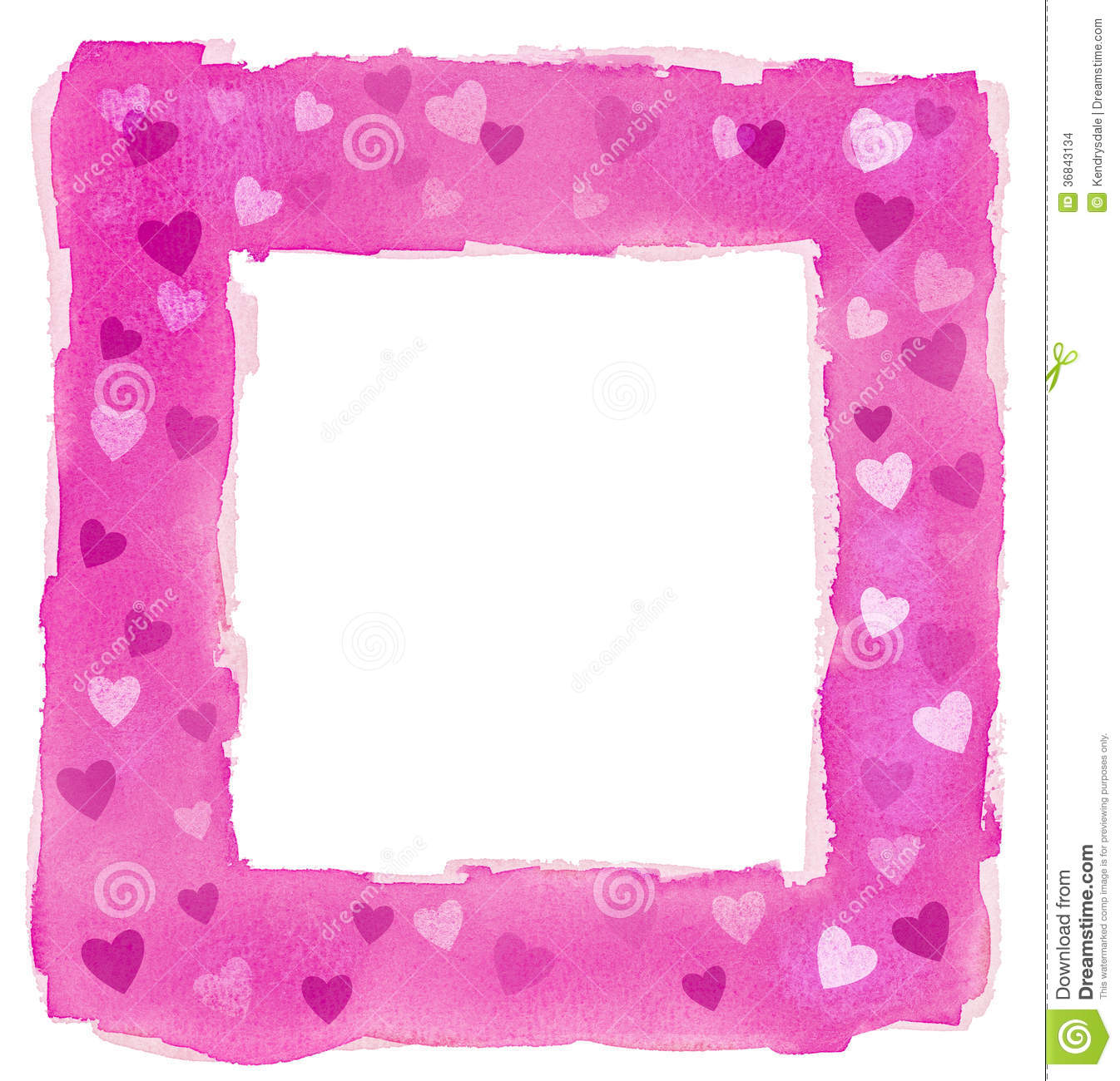 Abstract Pink Watercolor Hearts Square Frame Border Stock ...