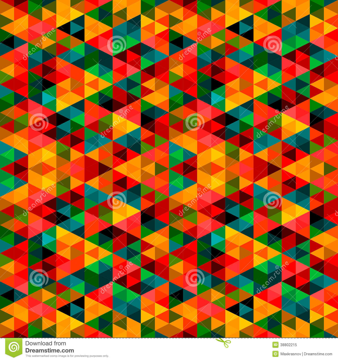 Abstract Pixel Triangle Pattern Vector Extended Psychedelic Background Stock