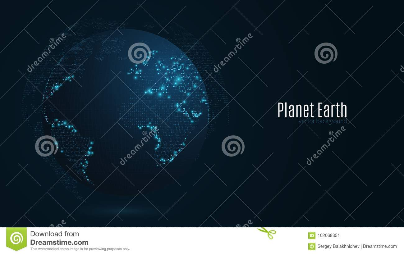 Abstract planet on a dark blue background earth world map blue abstract planet on a dark blue background earth world map blue light sci fi and hi tech big cities map of points the world sciox Choice Image