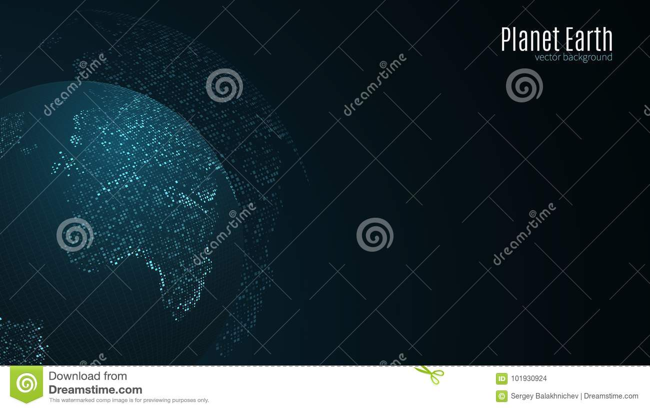 Square Earth Map.Abstract Planet Earth Blue Map Of The Earth From The Square Points