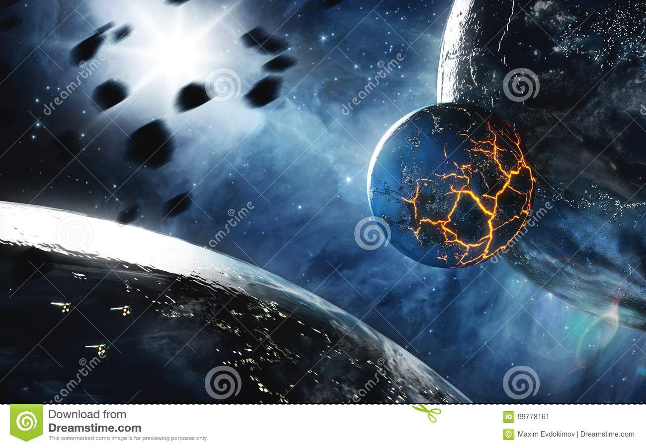 Abstract planet with huge cracks with lava in space. Elements of this image furnished by NASA.