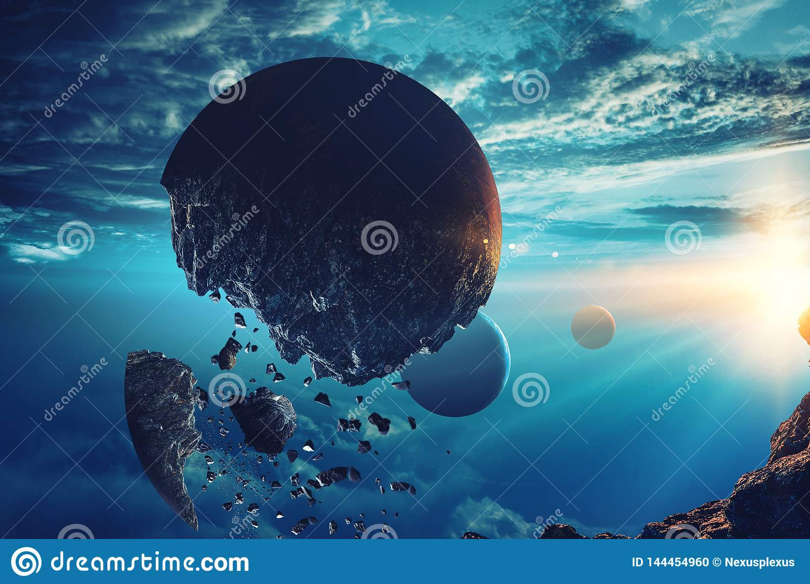 Abstract Planets And Space Background Stock Illustration