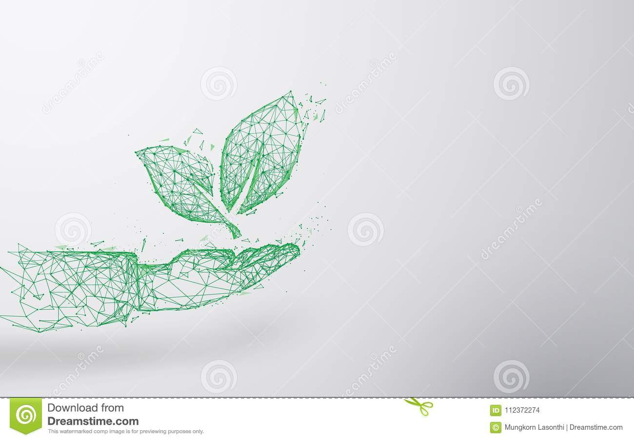 Abstract Plant On Hand Form Lines And Triangles Point Connecting Network Background Ecology Concept Stock Vector Illustration Of Digital Connect 112372274