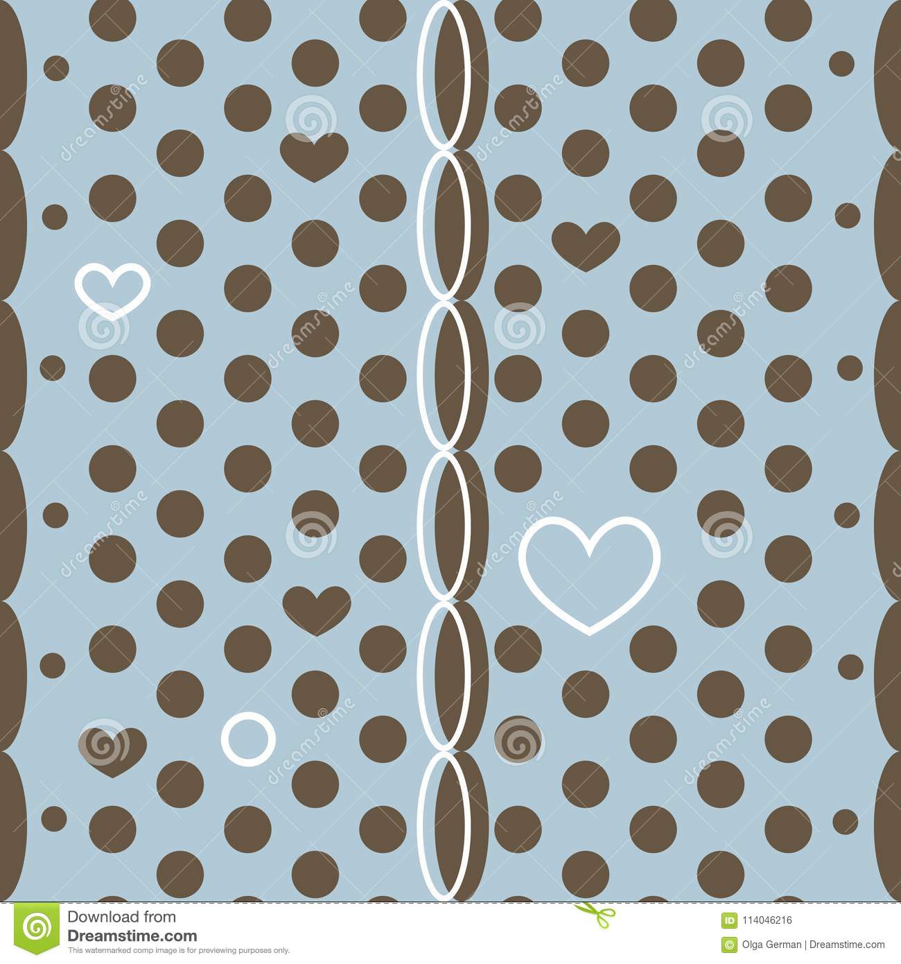 Abstract polka dot vector seamless pattern with little hearts and weave