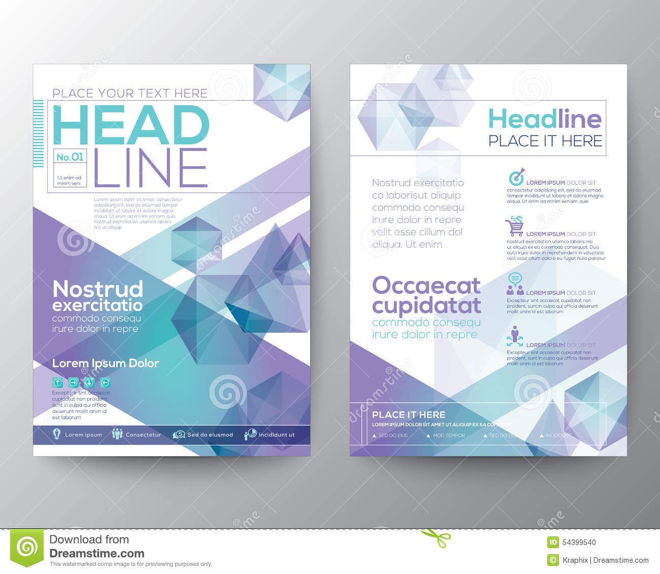 Abstract polygon design vector template layout for for Booklet brochure template