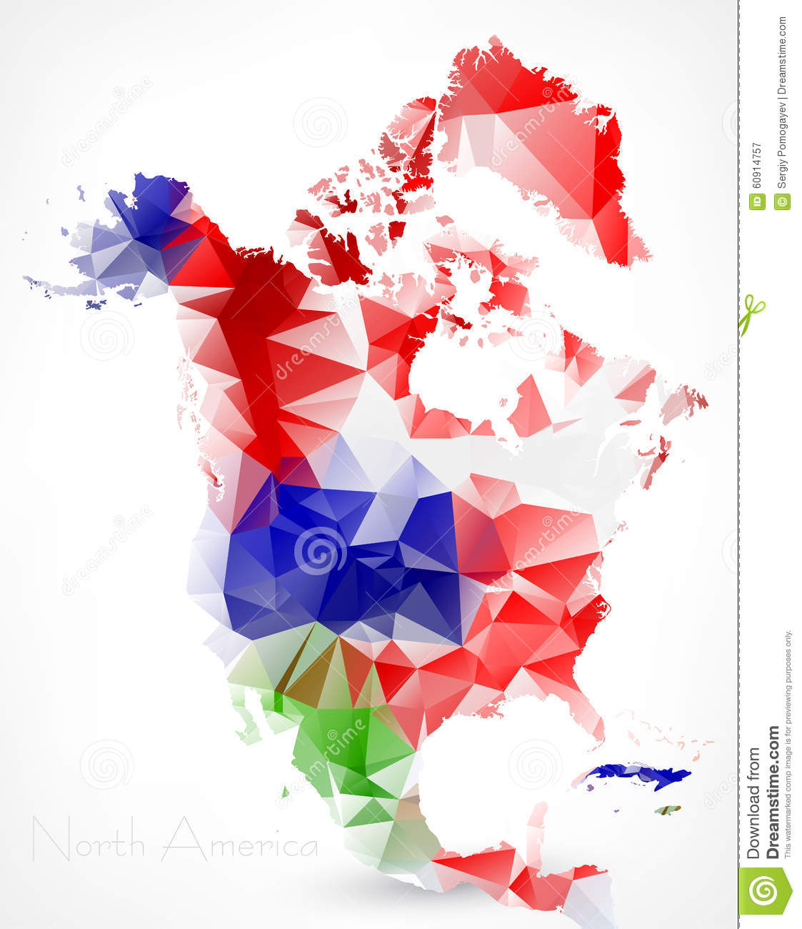 Abstract Polygonal Geometric Map Of North America Stock Vector - Download map of north america