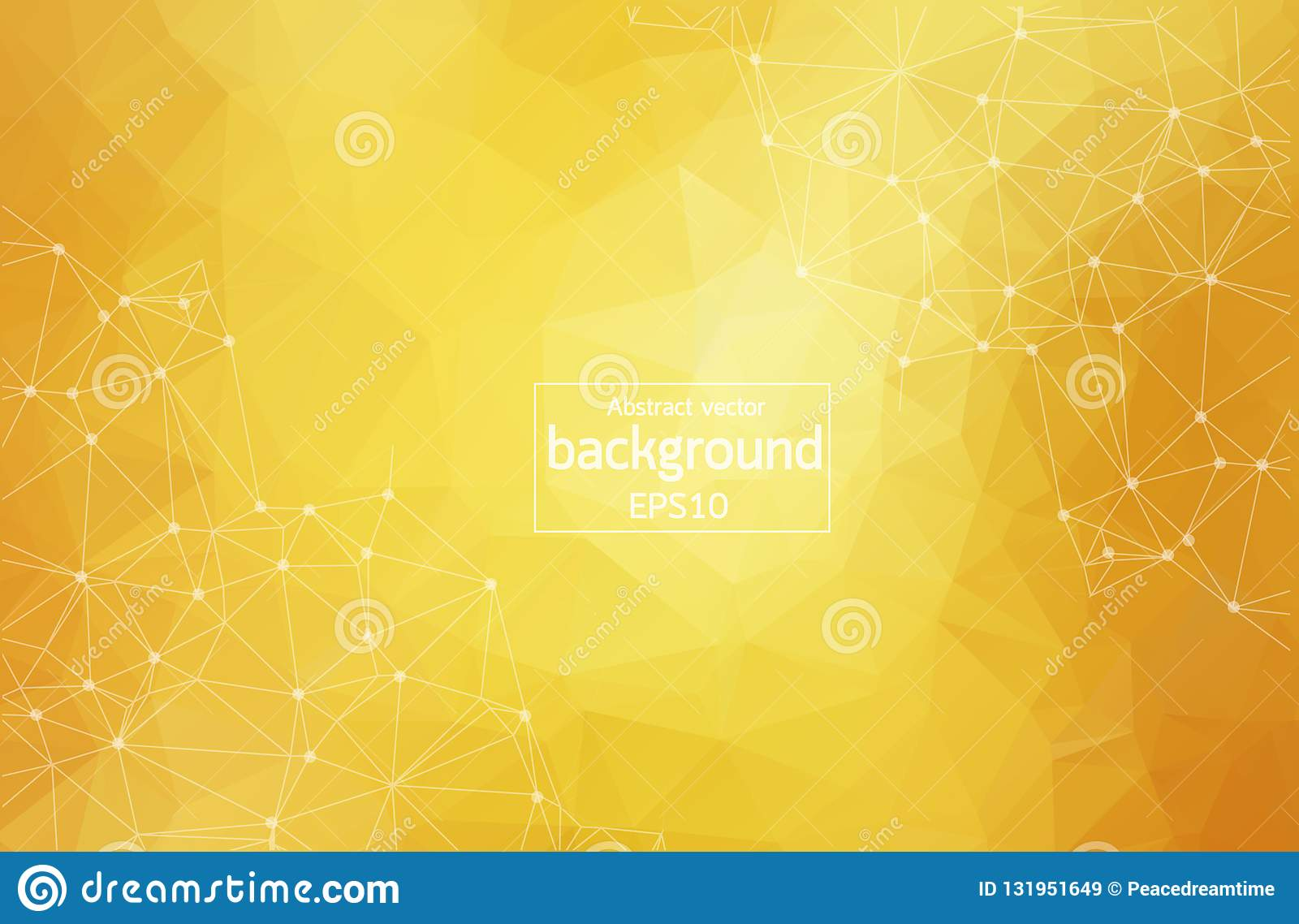 Abstract polygonal orange red low poly background with connecting dots and lines. Connection structure. Vector science background.