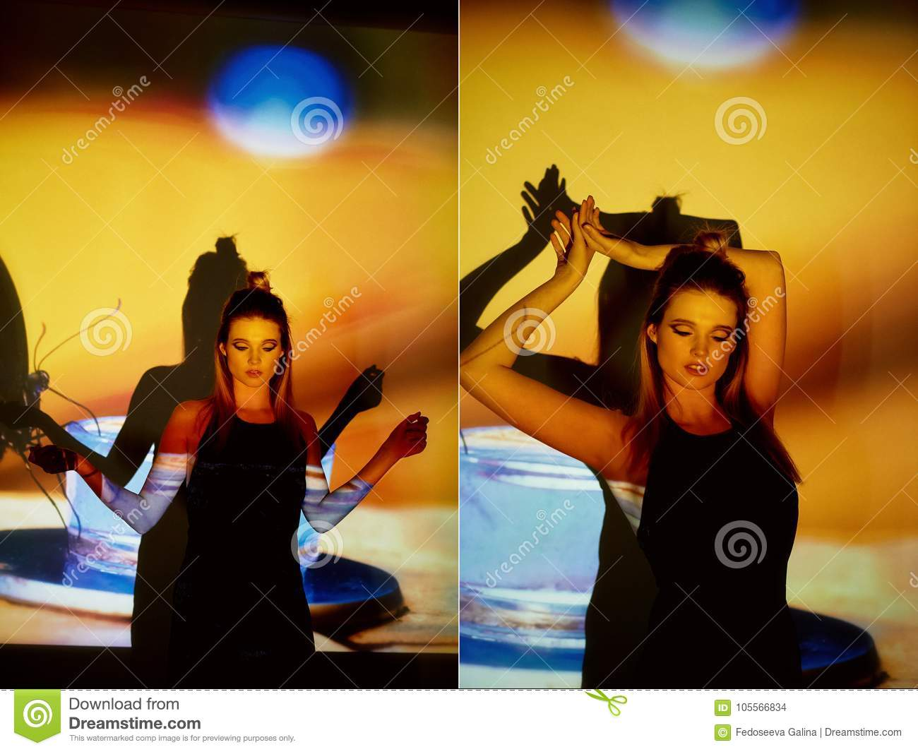Download Abstract Portrait Of A Beautiful Girl In The Light Projector Warm Orange