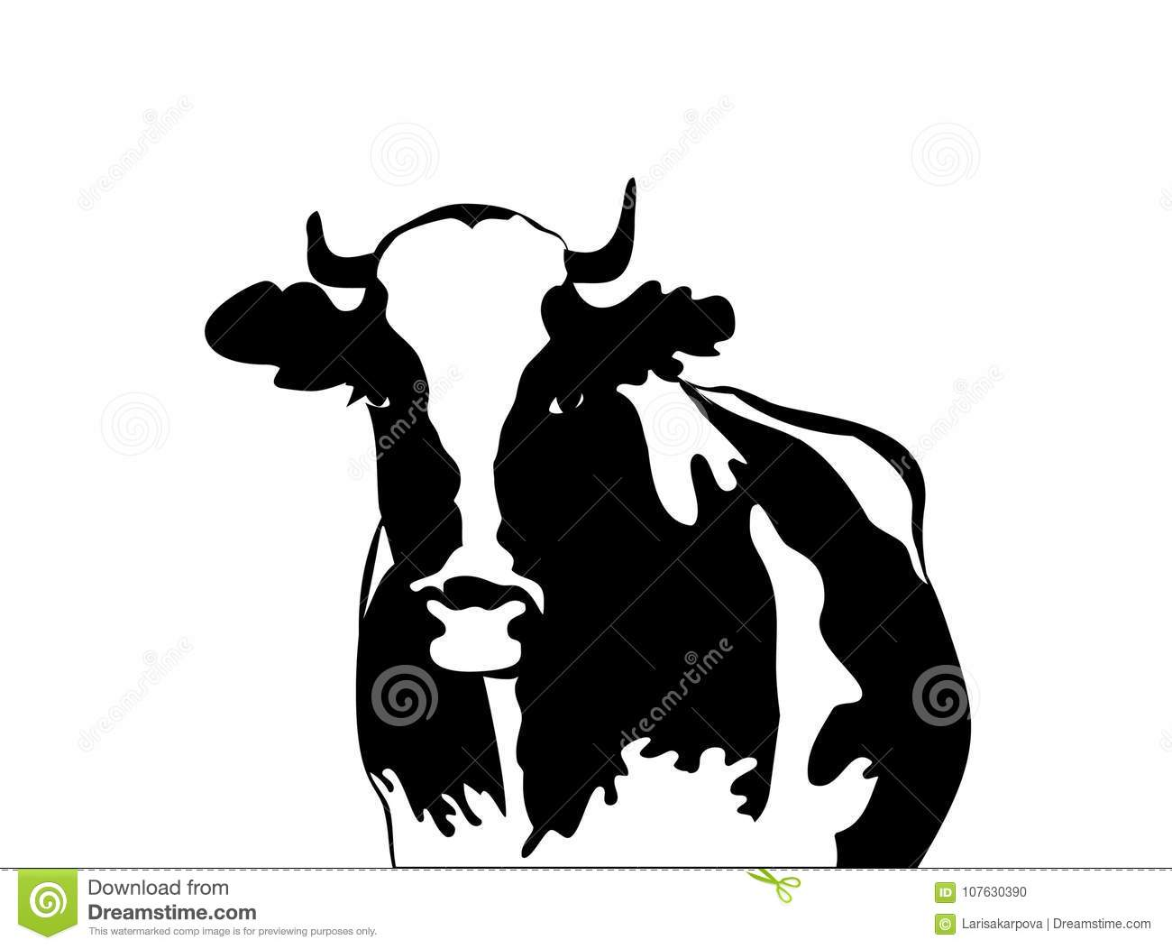Download Abstract Portrait Of Big Bull Cow Black And White Silhouette Stock Illustration