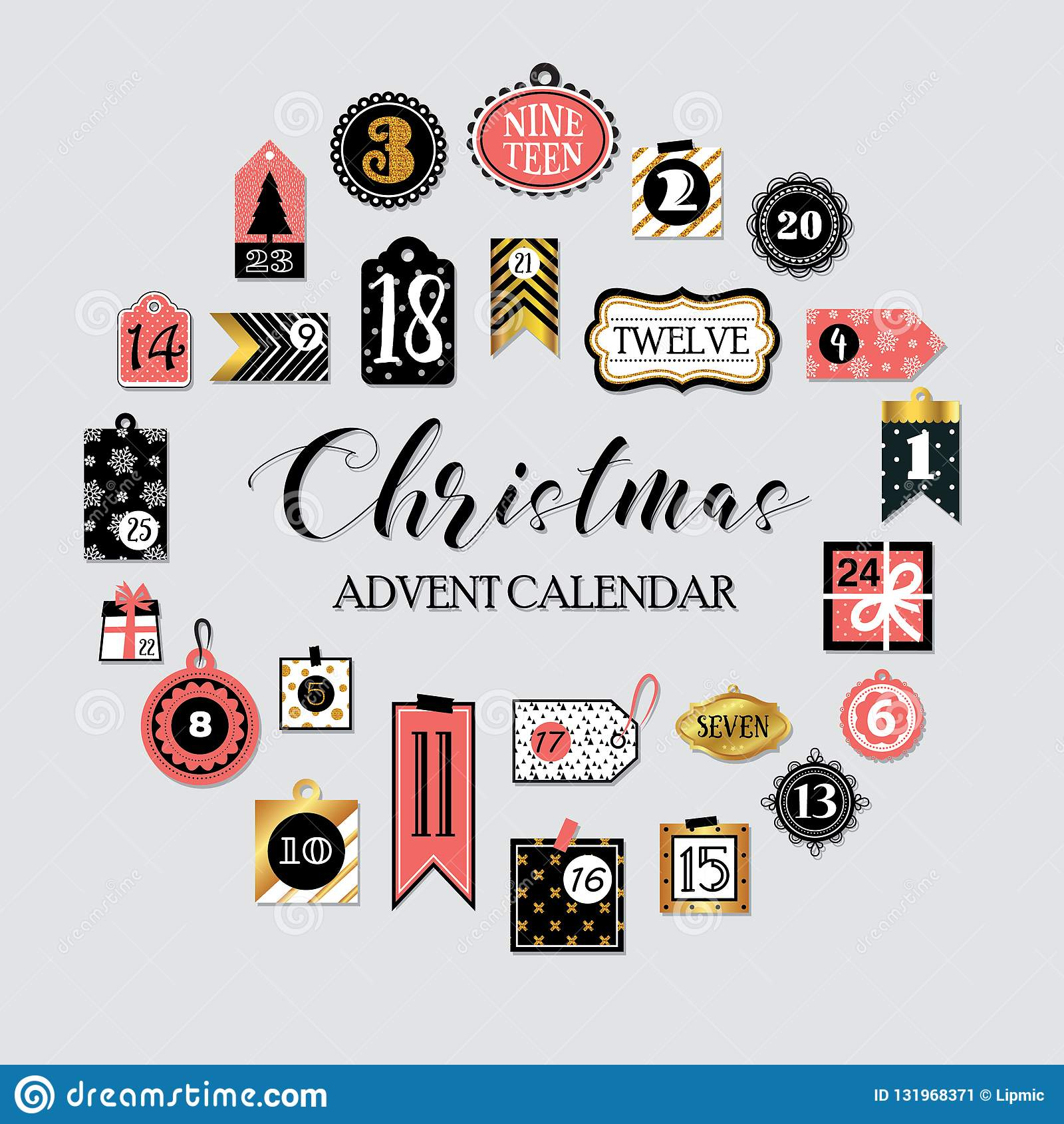 abstract printable tags collection for christmas new year advent calendar vector illustration