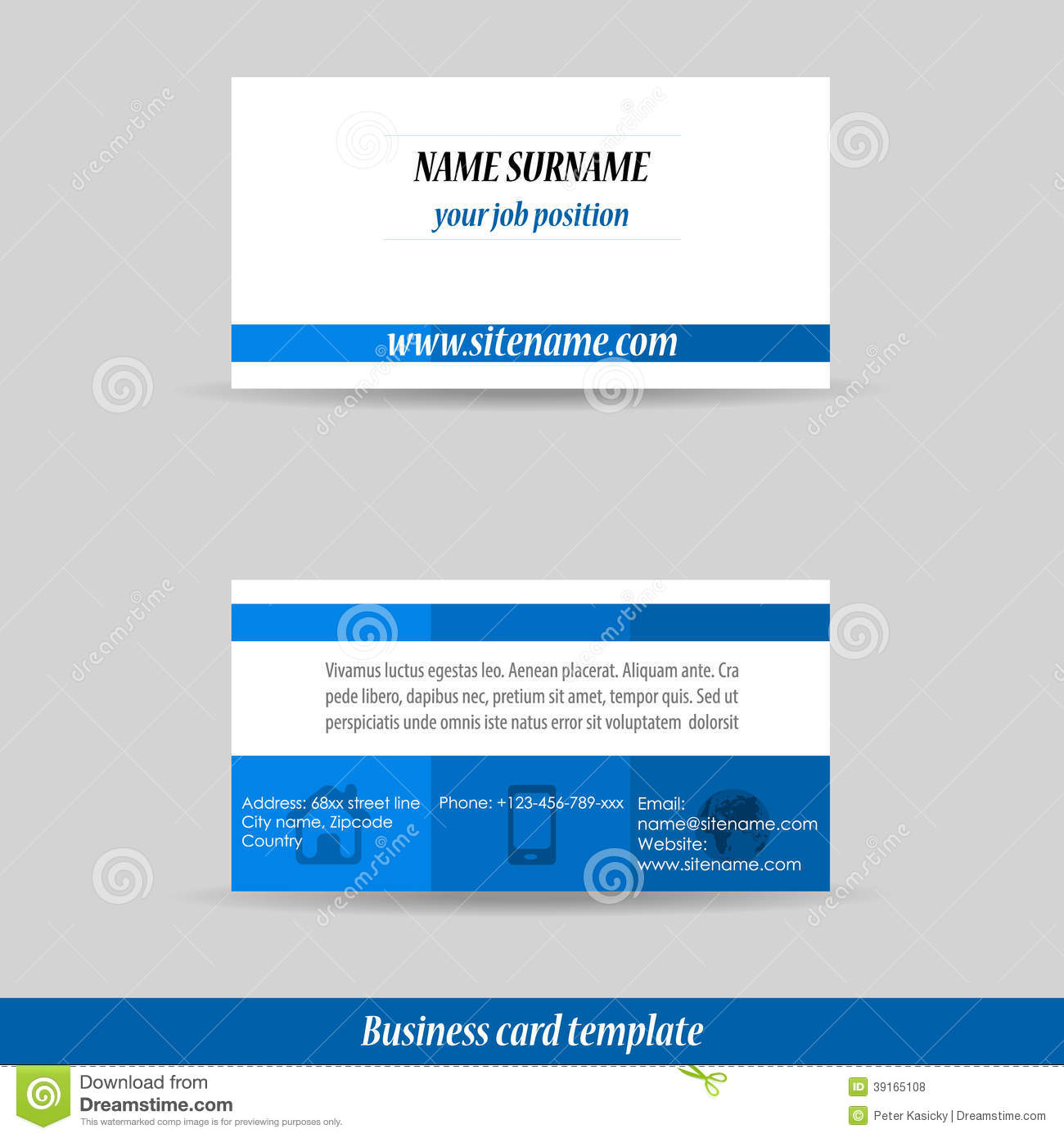 Abstract Professional Business Card Template Stock Vector ...