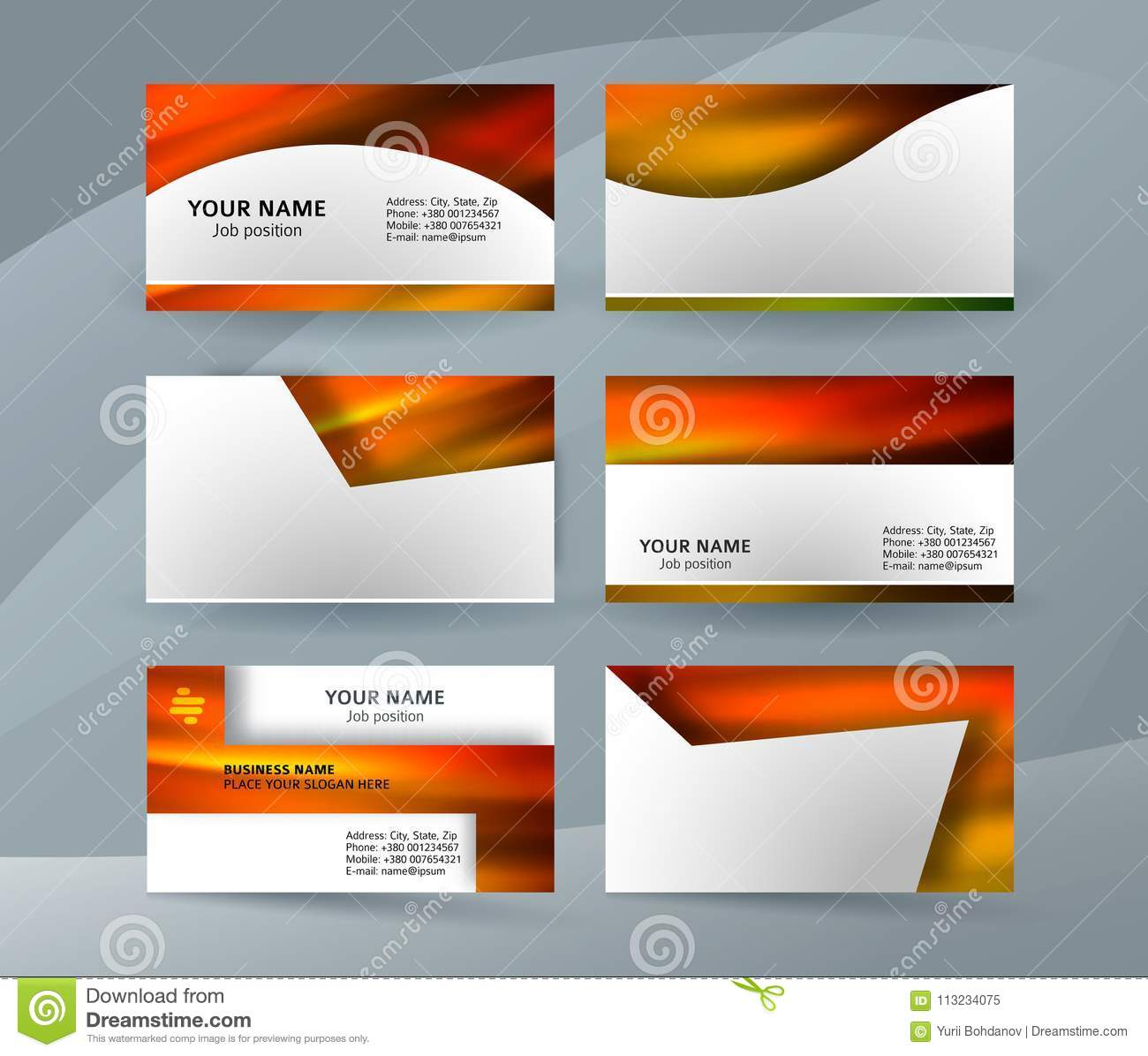 Business Card Layout Template Set21 Stock Vector Illustration Of