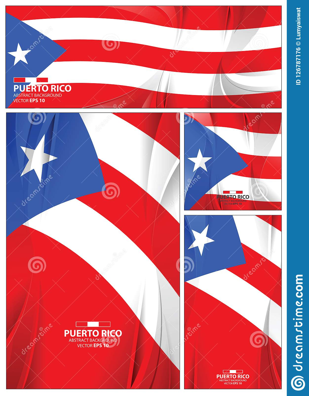 Puerto Rico Flag Abstract Colors Background Collection Banner Design Brochure Vector Illustration