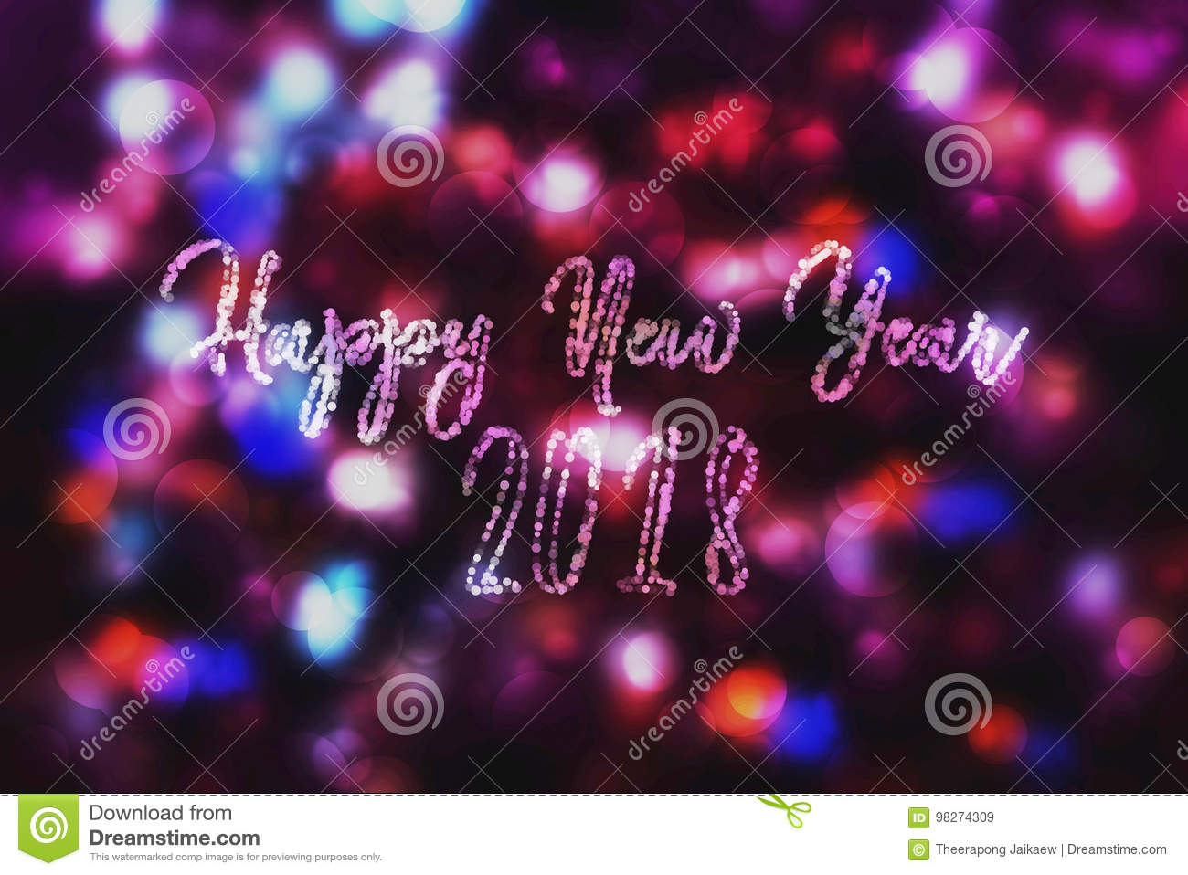abstract purple bokeh new year 2018 background modern simple flat sign trendy decoration symbol