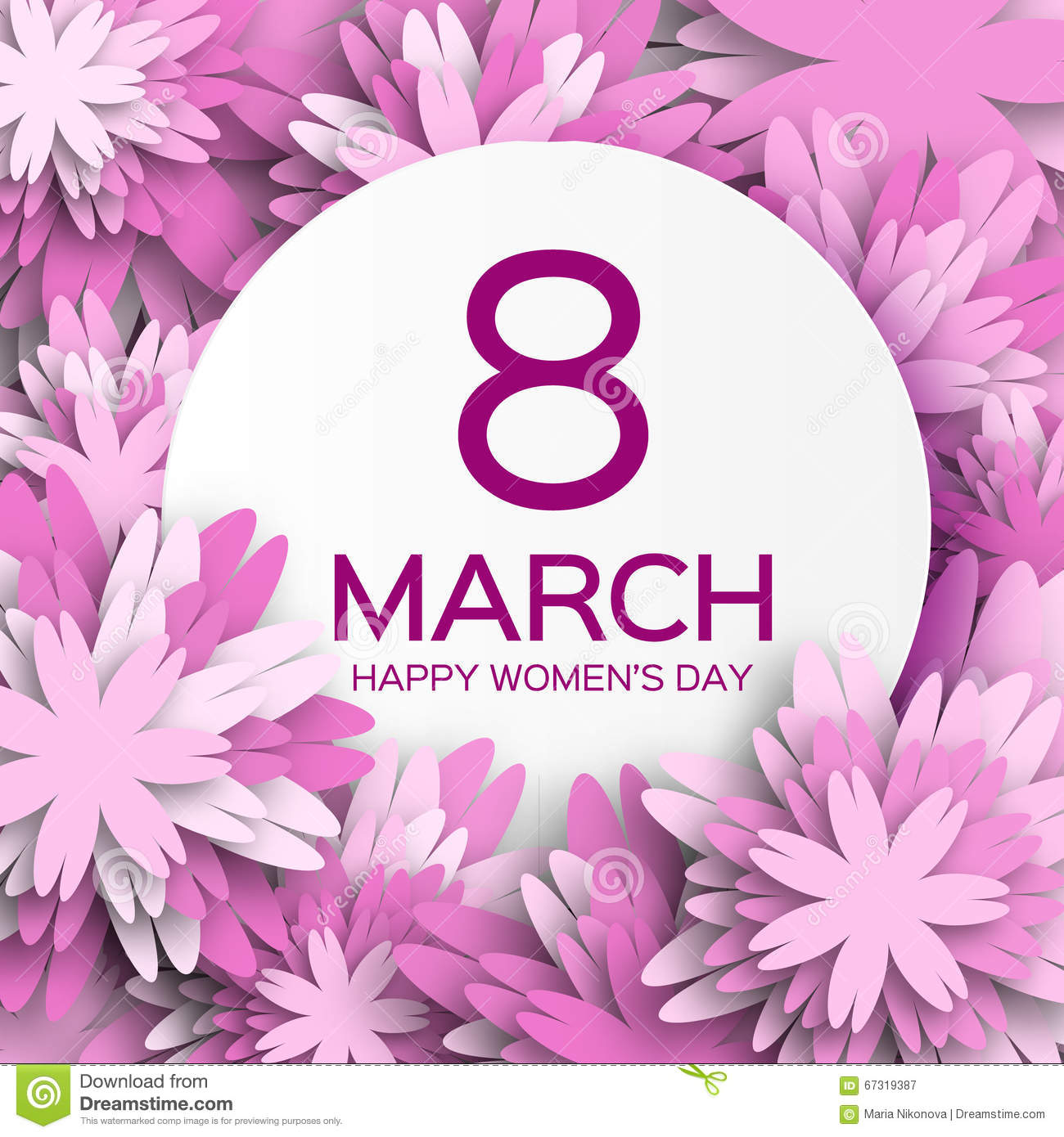 Abstract Purple Floral Greeting card - International Happy Women s Day - 8 March holiday background