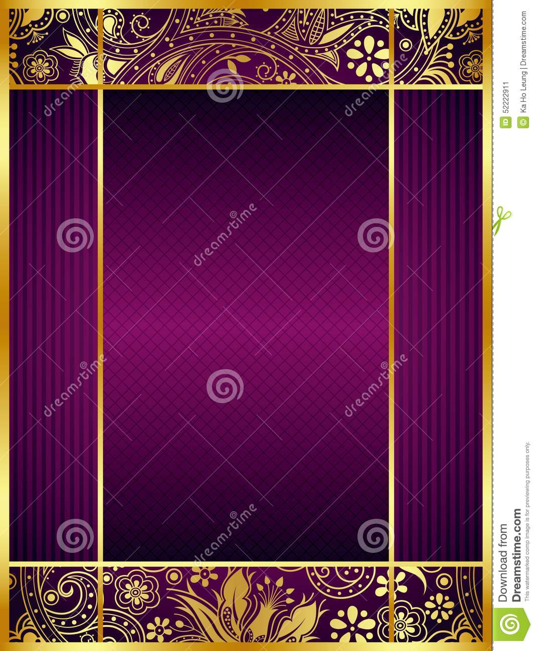 Abstract Purple And Gold Floral Background Stock ...