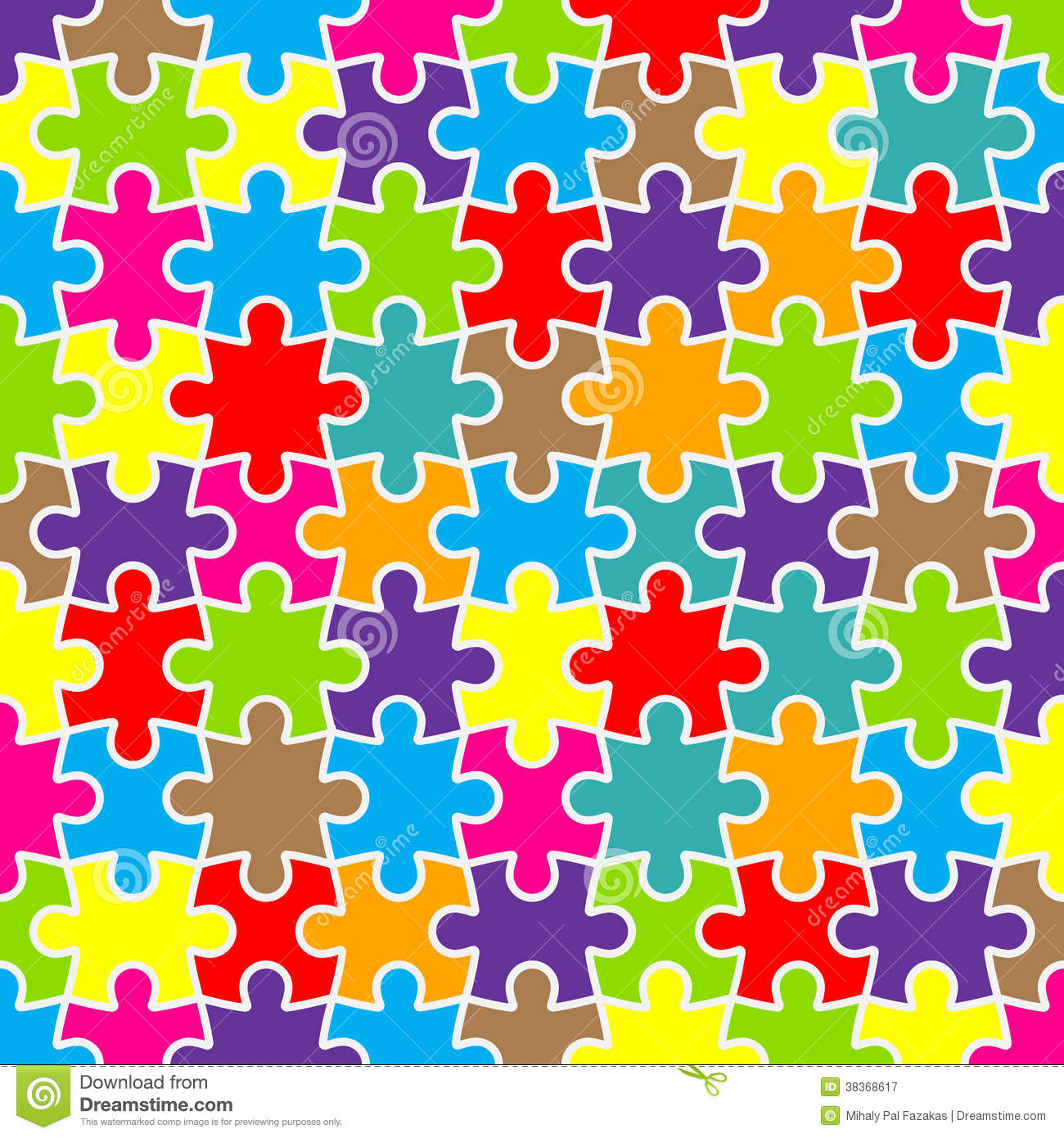Abstract Puzzle Background With Colorful Pieces Stock Vector