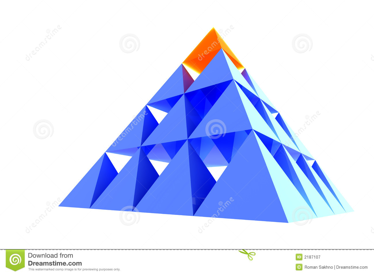 Abstract pyramid with orange