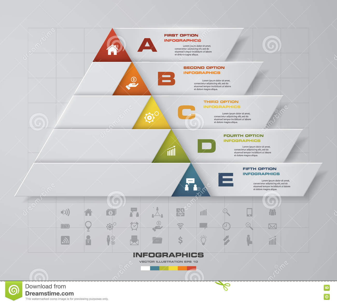 Abstract Pyramid Shape Layout With 5 Steps Order Template. EPS10 ...